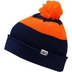 100% Strickmütze orange/blau