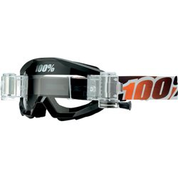 100% Strata Mx Goggle Black Mandarin with Mud System, Mirror Clear Lens