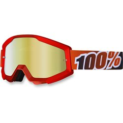100% Strata Mx Goggle Fire Red, Mirror Red Lens