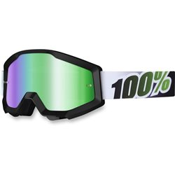 100% Strata Mx Goggle Black Lime, Mirror Green Lens