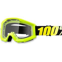 100% Strata Mx Goggle Junior Neon Yellow, Mirror Clear Lens