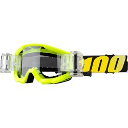 100% Strata Youth Goggle Neon Yellow Mud System Roll Off