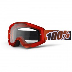 100% Strata Mx Goggle Fire Red, Mirror Clear Lens